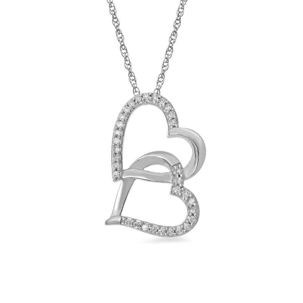 9ct White Gold 0.10ct Diamond Double Looped Heart Necklace Necklaces Bevilles