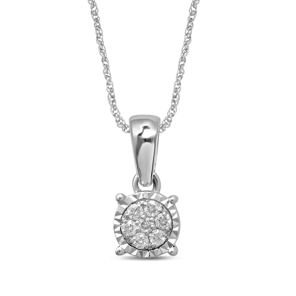 9ct White Gold Diamond Set Miracle Necklace Necklaces Bevilles