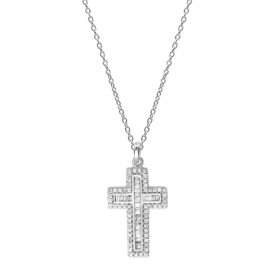 9ct White Gold 0.27ct Diamond Cross Necklace Necklaces Bevilles