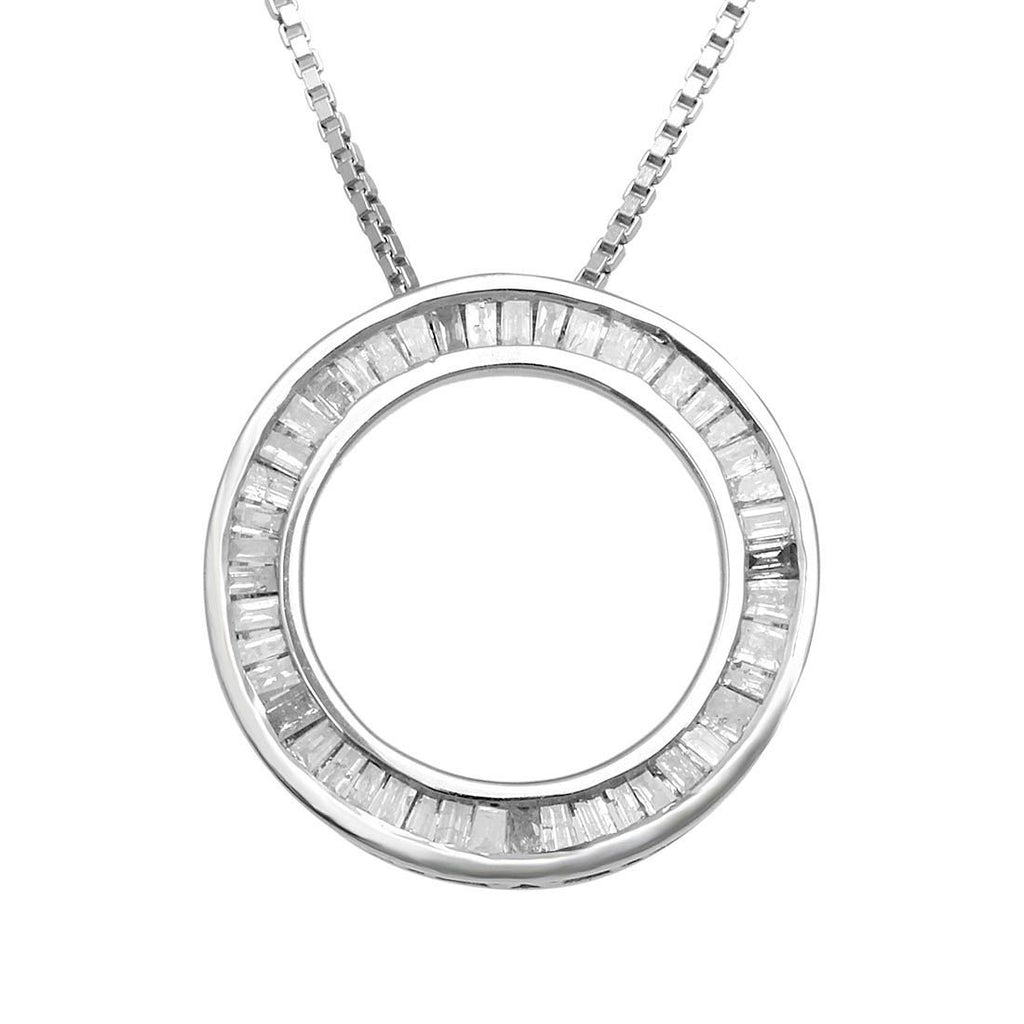 9ct White Gold 0.25ct Diamond Circle of Love Necklace Necklaces Bevilles