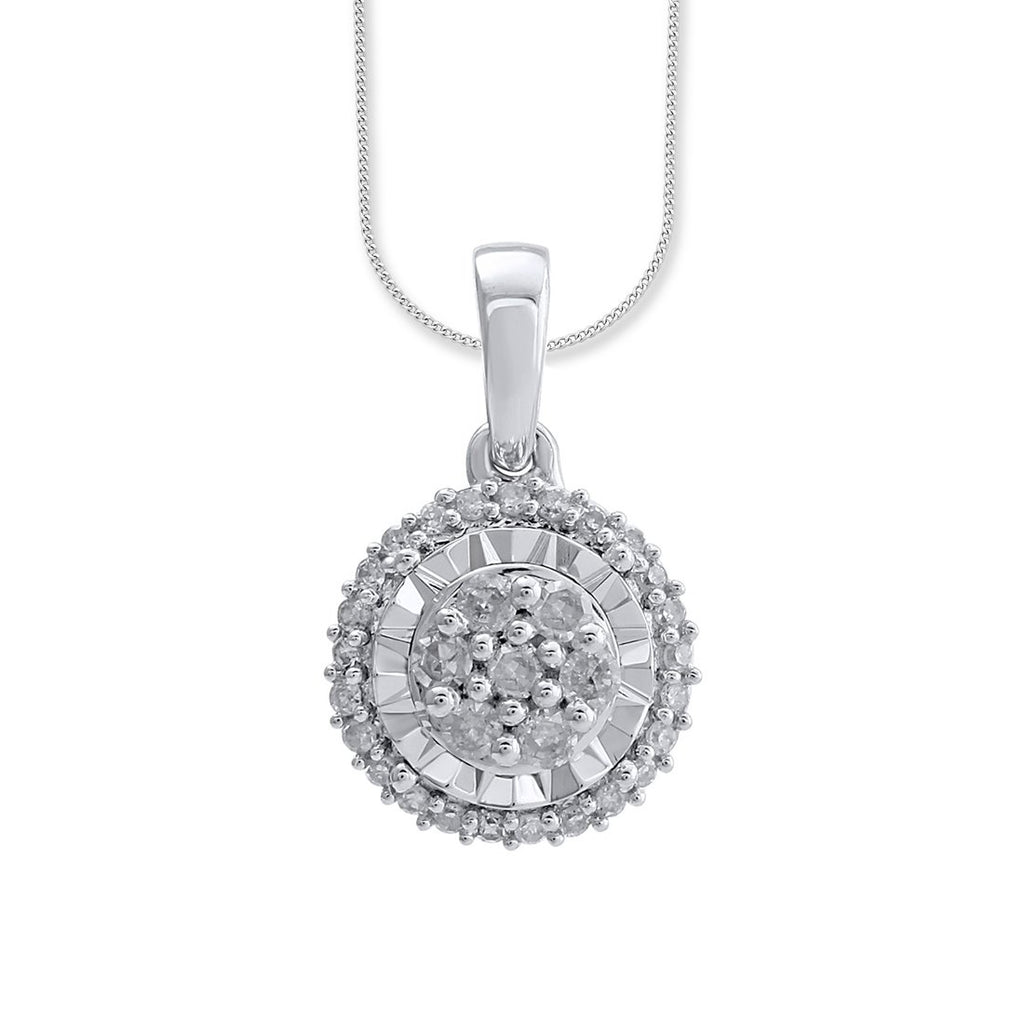 9ct White Gold 0.15ct Diamond Miracle Halo Pendant Necklaces Bevilles