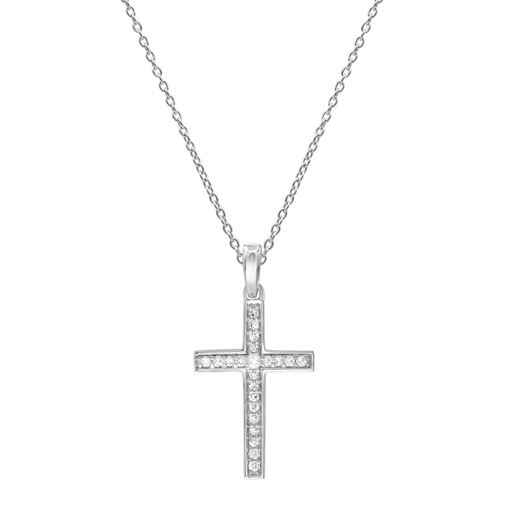 Cross Necklace with Diamonds in 9ct White Gold Necklaces Bevilles