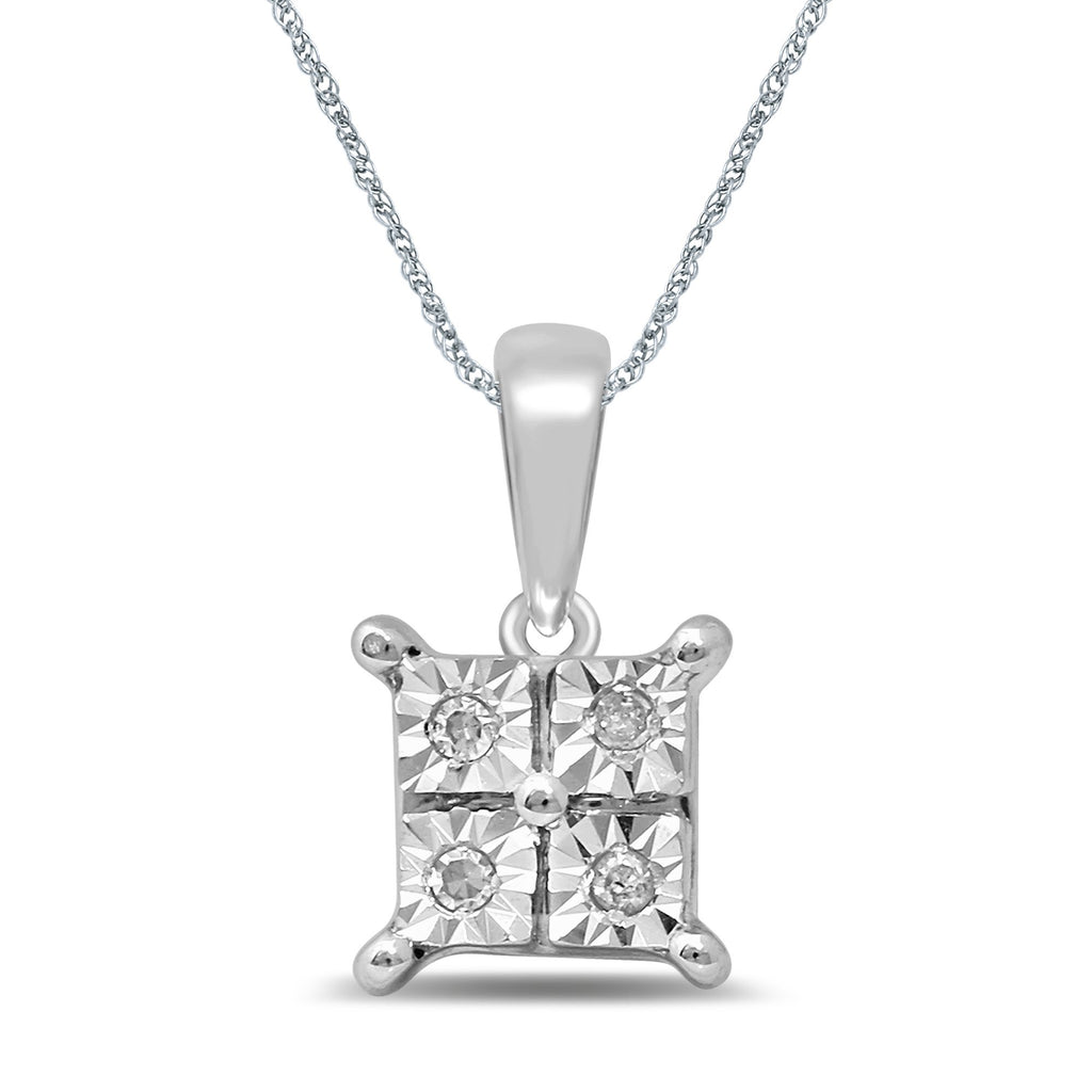 Diamond Illusion Square Look Necklace in 9ct White Gold Necklaces Bevilles