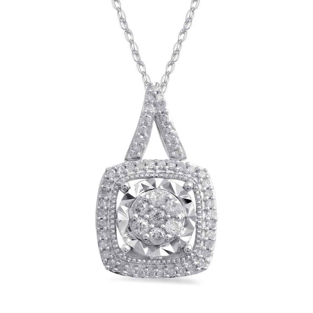 9ct White Gold Miracle Halo Necklace with 0.25ct of Diamonds Necklaces Bevilles