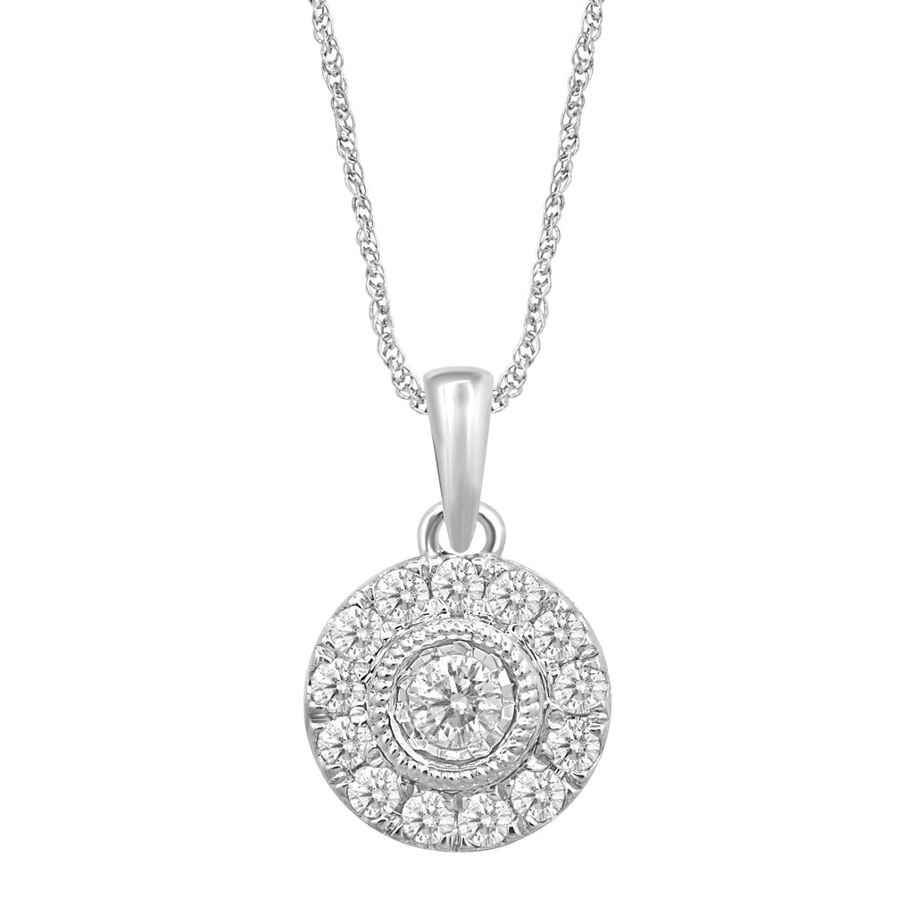 Brilliant Milgrain Pendant Necklace with 1/4ct of Diamonds in 9ct White Gold Necklaces Bevilles