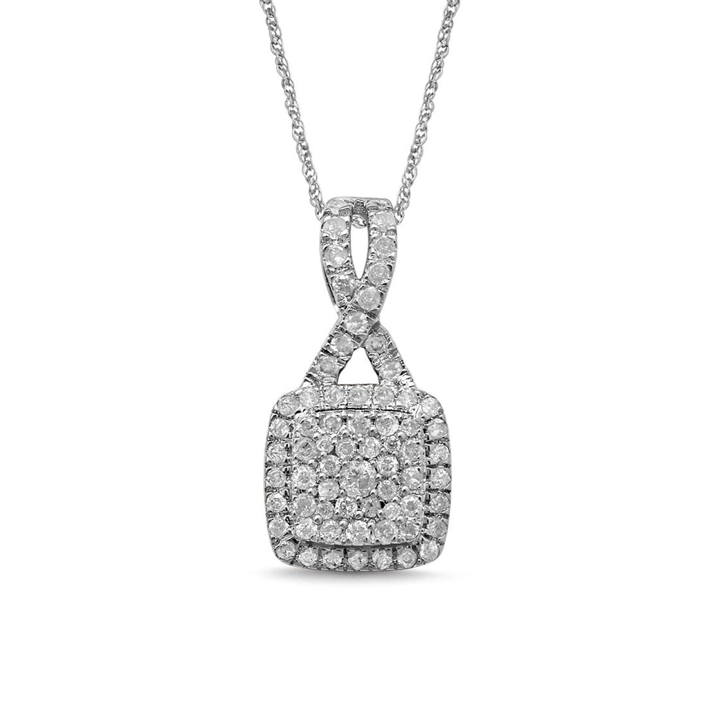 9ct White Gold 0.5ct Brilliant Claw Diamond Square Necklace Necklaces Bevilles