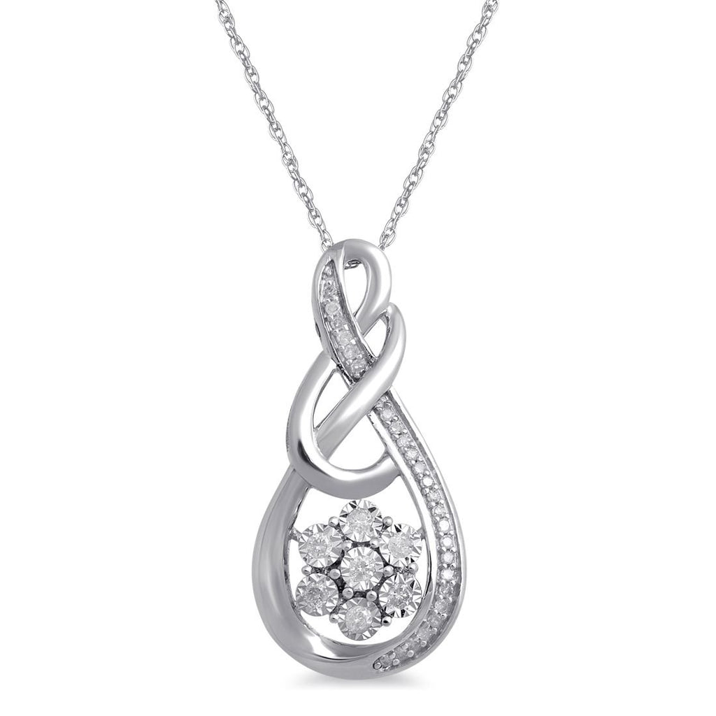 9ct White Gold Miracle Flower Swirl Diamond Necklace Necklaces Bevilles