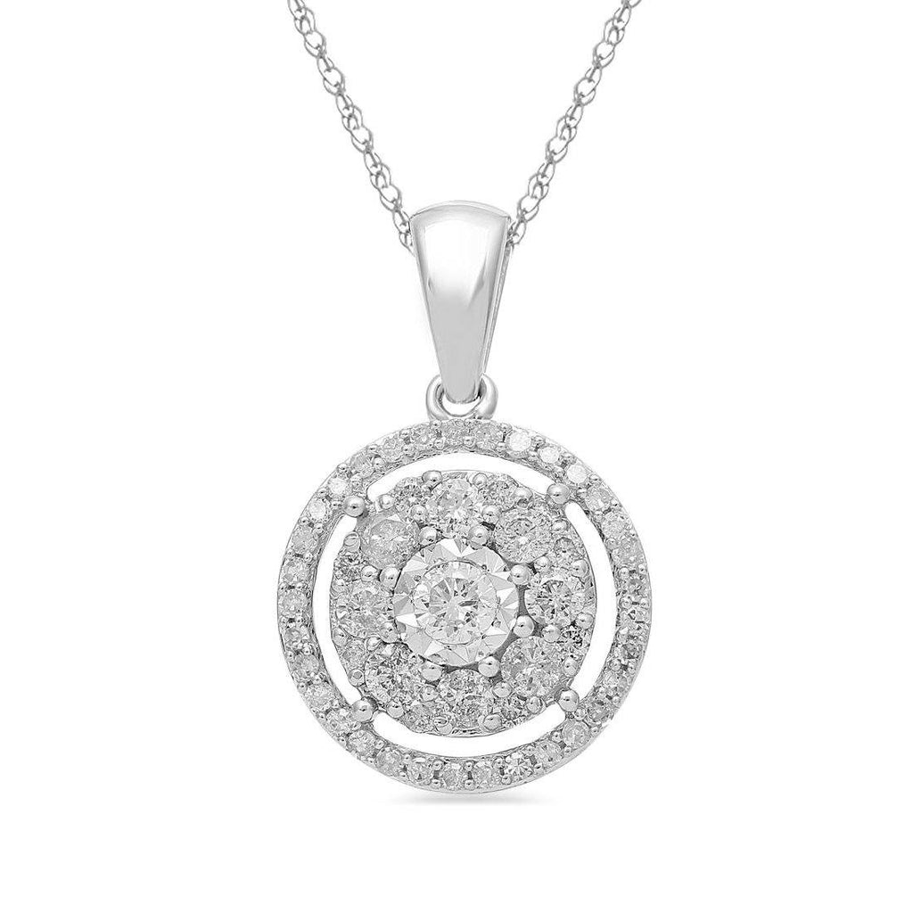 Brilliant Illusion Halo Necklace with 1/2ct of Diamonds in 9ct White Gold Necklaces Bevilles