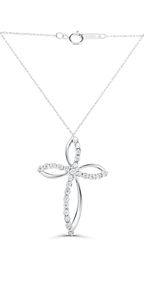 Cross Necklace with 1/4ct Diamonds in 10ct White Gold Necklaces Bevilles