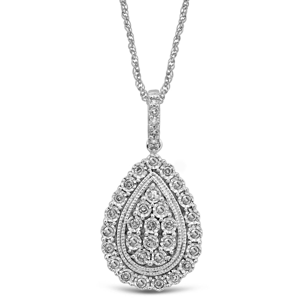 Brilliant Halo Pear Necklace with 1/4ct of Diamonds in 9ct White Gold Necklaces Bevilles