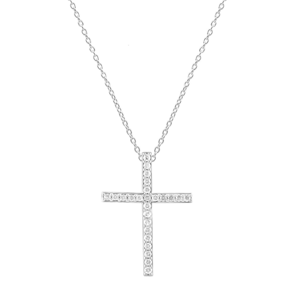 Cross Pendant with 1/4ct of Diamonds in 9ct White Gold with Sterling Silver Necklace Necklaces Bevilles