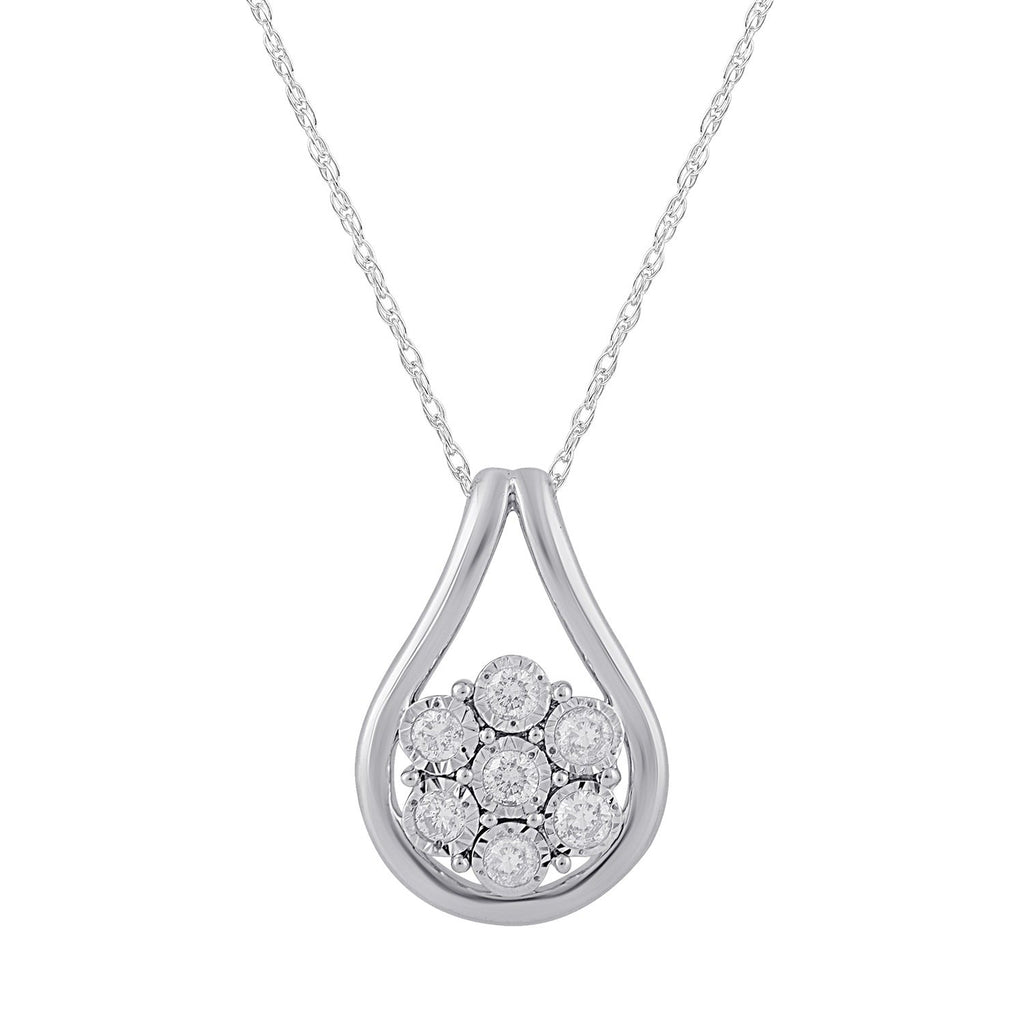 Miracle Flower Necklace with 1/4ct of Diamonds in 9ct White Gold Necklaces Bevilles