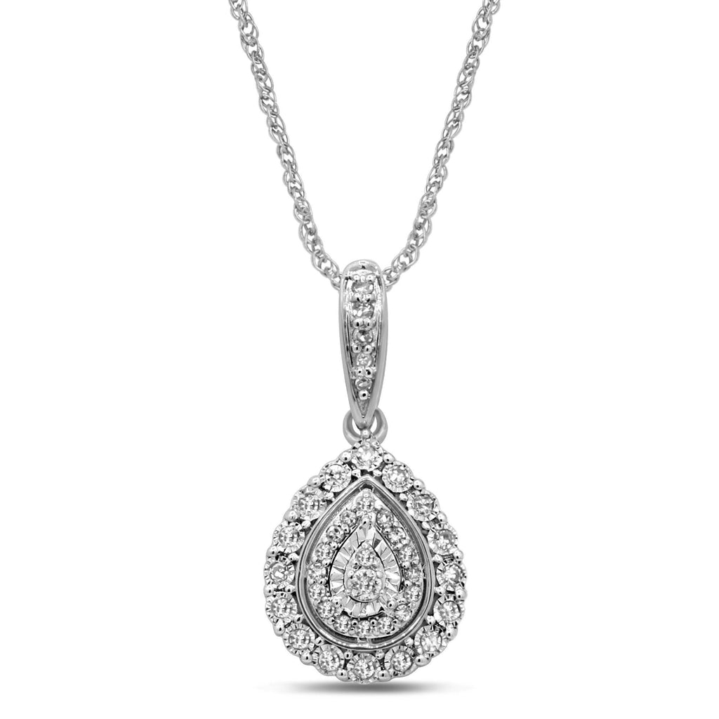 Double Pear Halo Necklace with 1/5ct of Diamonds in 9ct White Gold Necklaces Bevilles