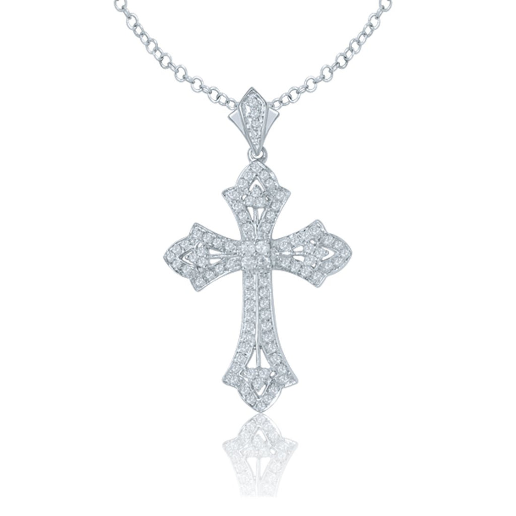9ct White Gold 0.70ct Diamond Cross Necklace Necklaces Bevilles