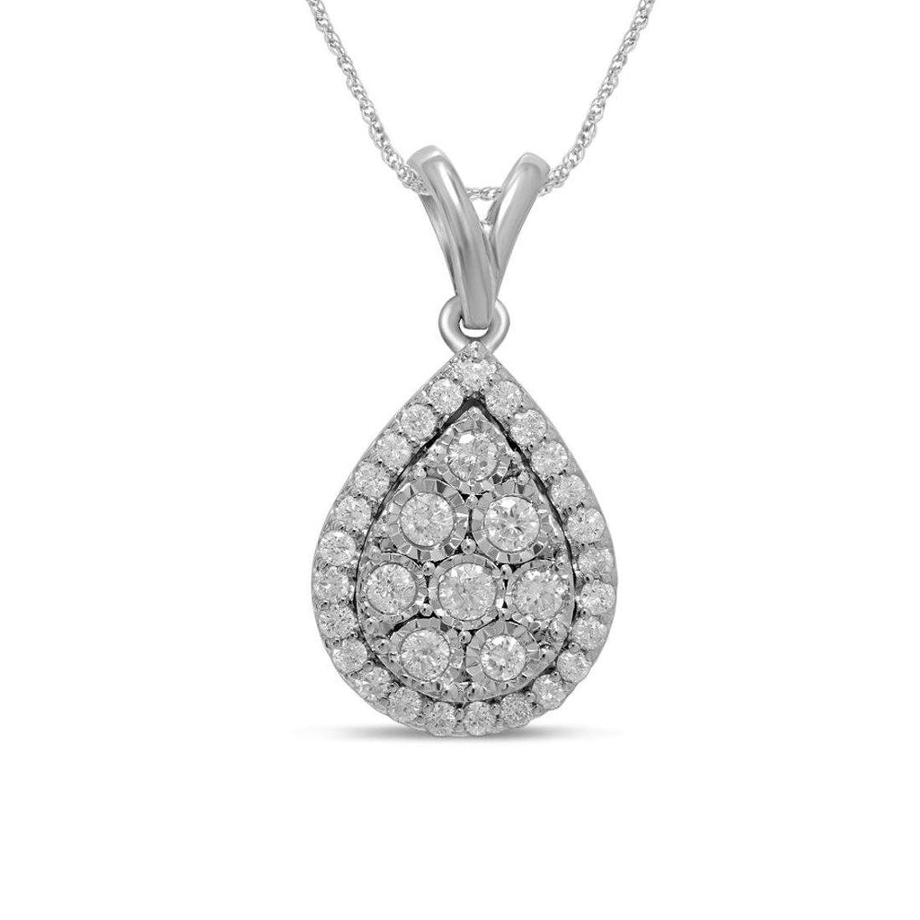 Pear Necklace with 1/2ct of Diamonds in 9ct White Gold Necklaces Bevilles