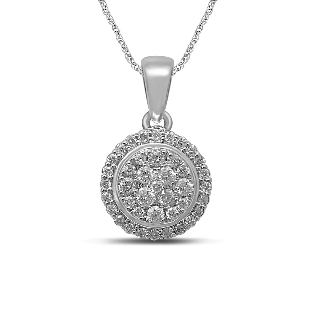 9ct White Gold 1/2ct Diamond Circle Necklace Necklaces Bevilles
