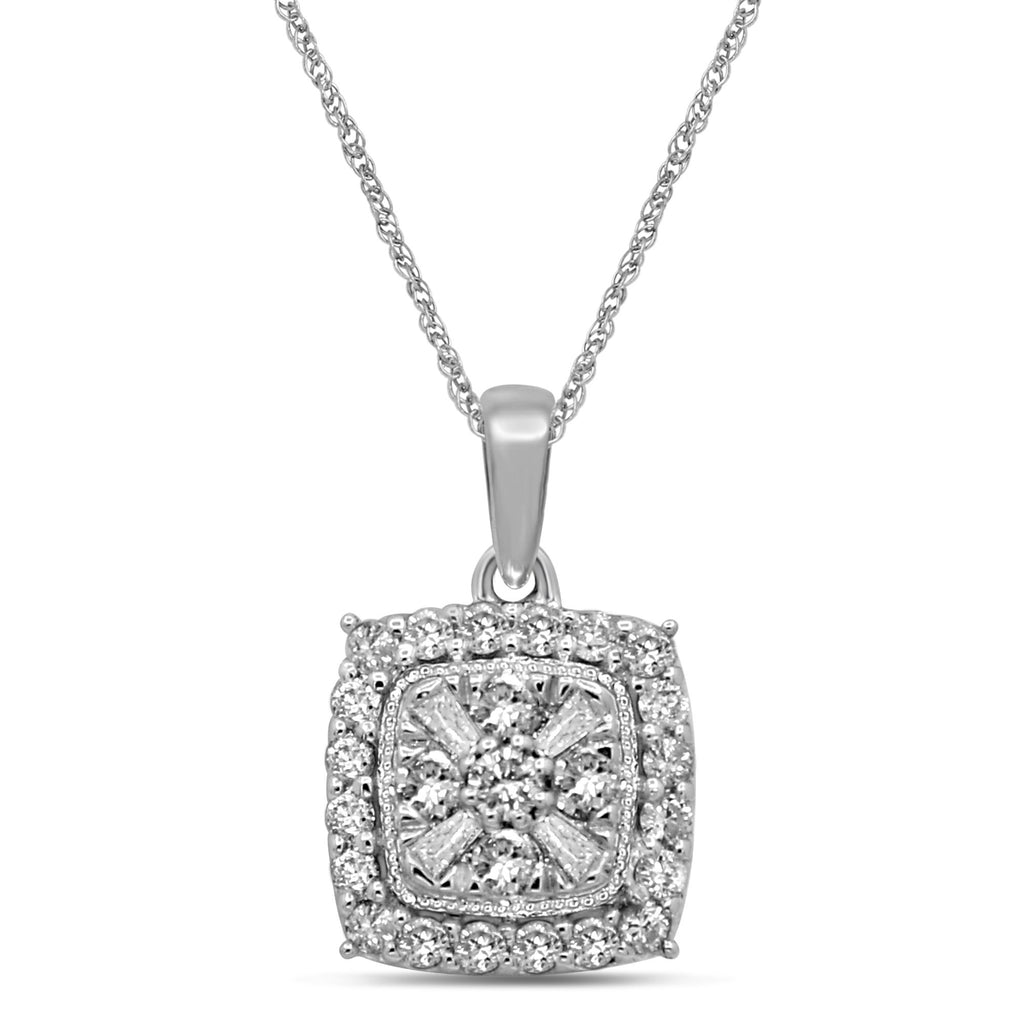 Brilliant Baguette Halo Necklace with 1/2ct of Diamonds in 9ct White Gold Necklaces Bevilles