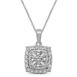 Brilliant Baguette Halo Necklace with 1/2ct of Diamonds in 9ct White Gold