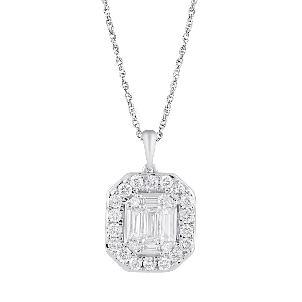 Brilliant Claw Surround Necklace with 1/2ct of Diamonds in 9ct White Gold 45cm Necklaces Bevilles