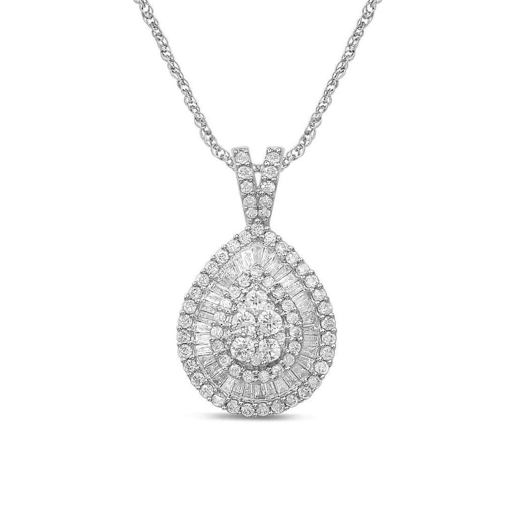 9ct White Gold 0.75ct Brilliant Claw Diamond Necklace Necklaces Bevilles