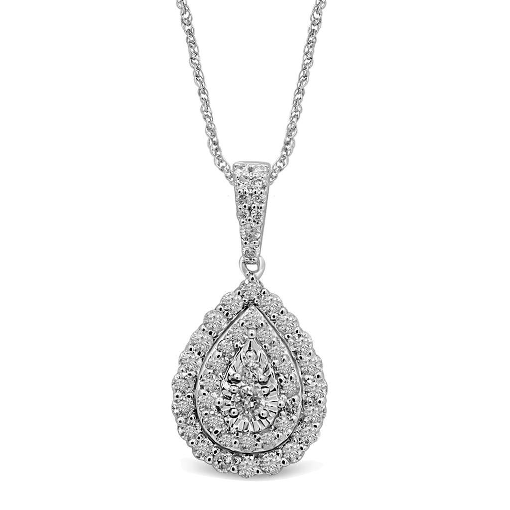 Brilliant Claw Pear shaped Necklace with 1.00ct of Diamonds in 9ct White Gold Bevilles Jewellers