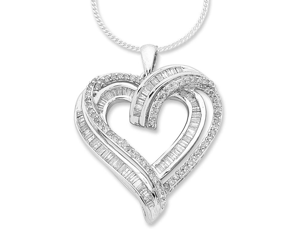Brilliant Heart Necklace with 3/4 of Diamonds in 9ct White Gold Necklaces Bevilles