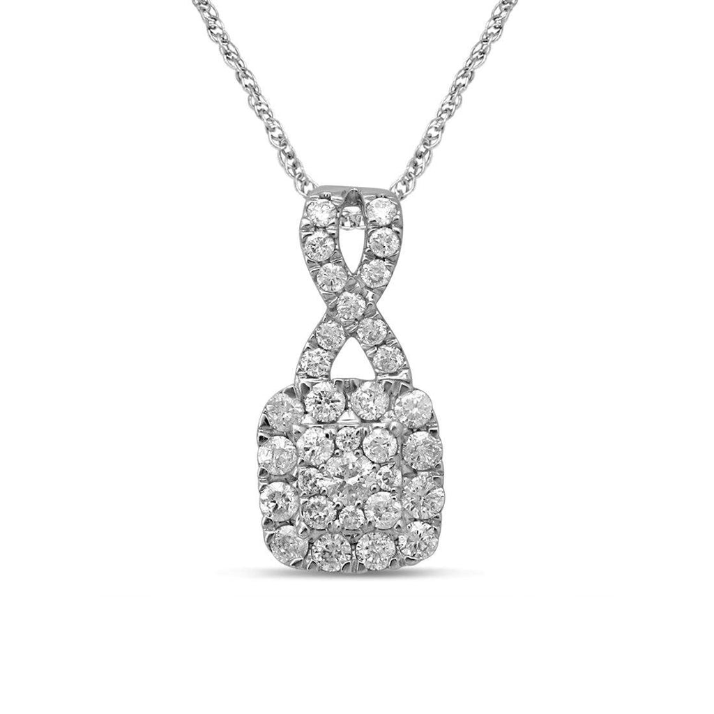 9ct White Gold 0.60ct Diamond Necklace Necklaces Bevilles