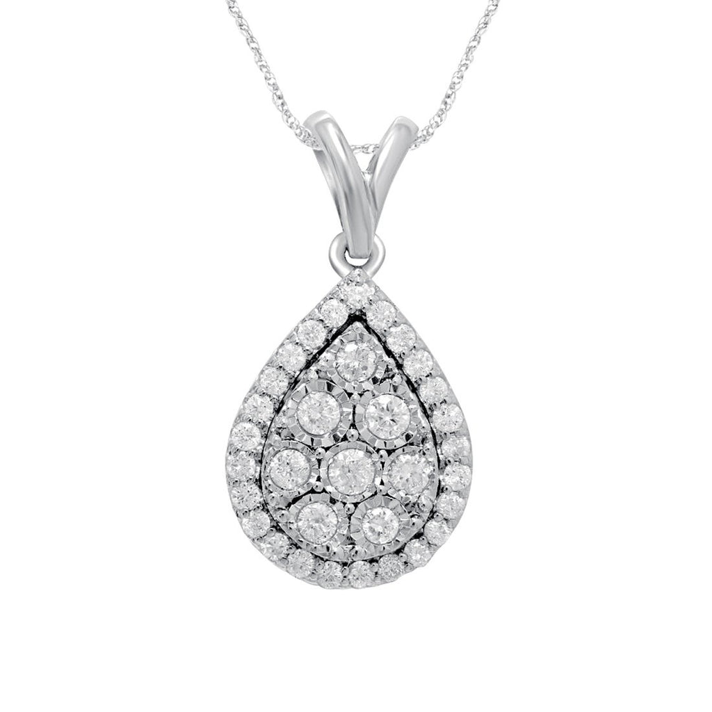 Pear Necklace with 1.50ct of Diamonds in 9ct White Gold Necklaces Bevilles
