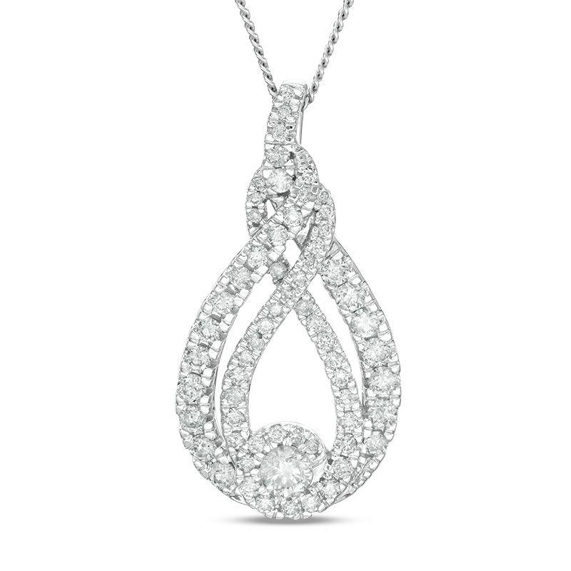 Solitaire Halo Swirl Necklace with 1.50ct of Diamonds in 10ct White Gold Necklaces Bevilles