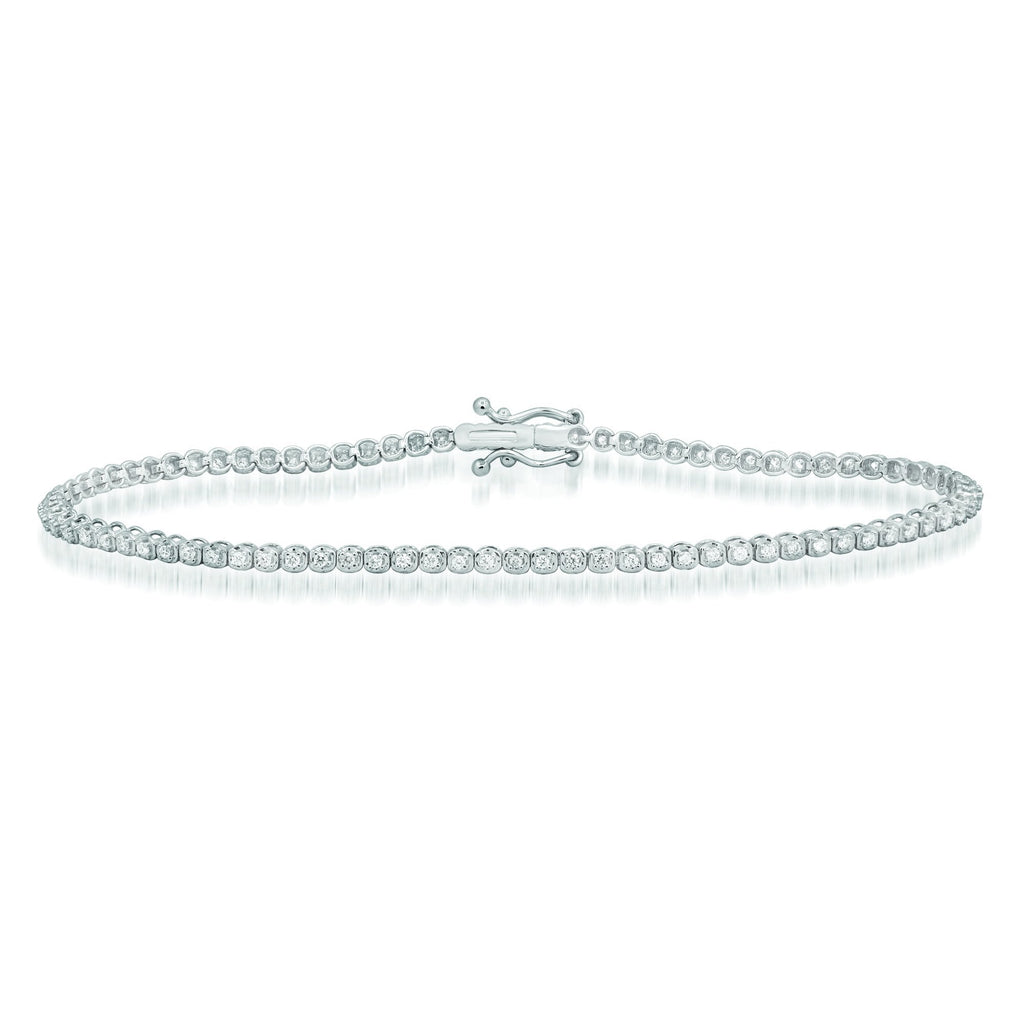 Diamond Tennis Bracelet with 1/3ct of Diamonds in 9ct White Gold