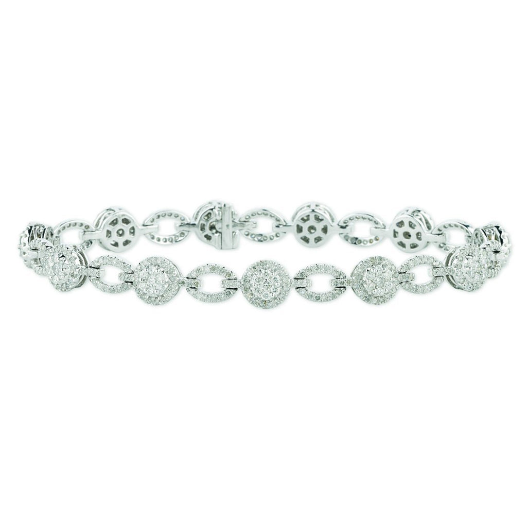 9ct White Gold 2.50ct Diamond Circle Link Bracelet