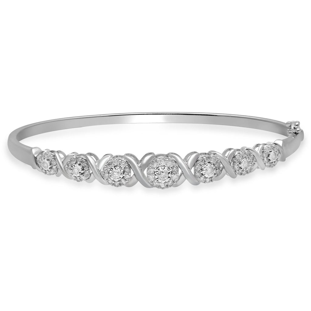 Bangle with 1.00ct of Diamonds in 9ct White Gold Bracelets Bevilles