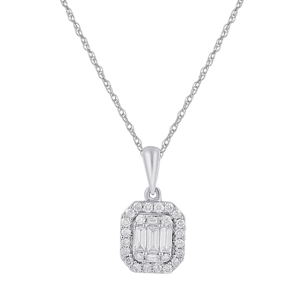 9ct White Gold 0.35ct Diamond Necklace Necklaces Bevilles