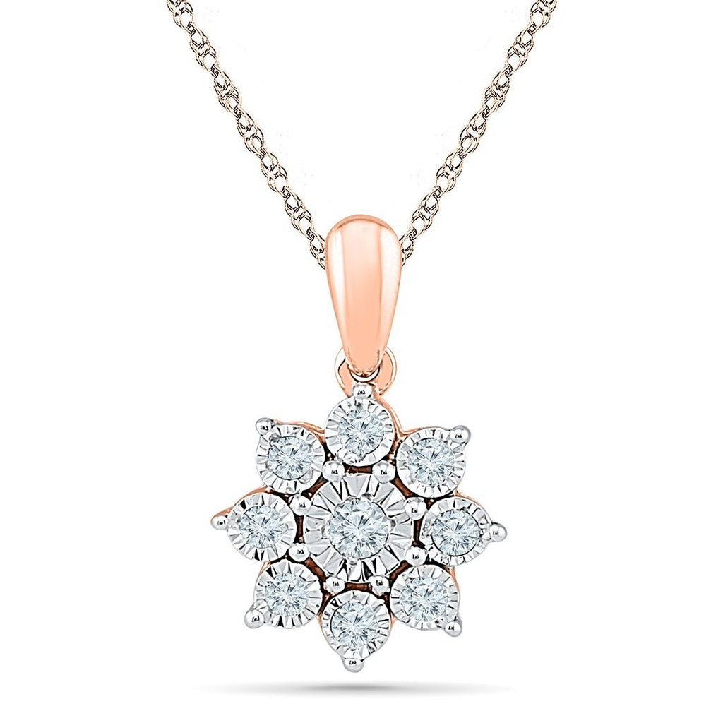 9ct Rose Gold 0.10ct Diamond Star Necklace Necklaces Bevilles