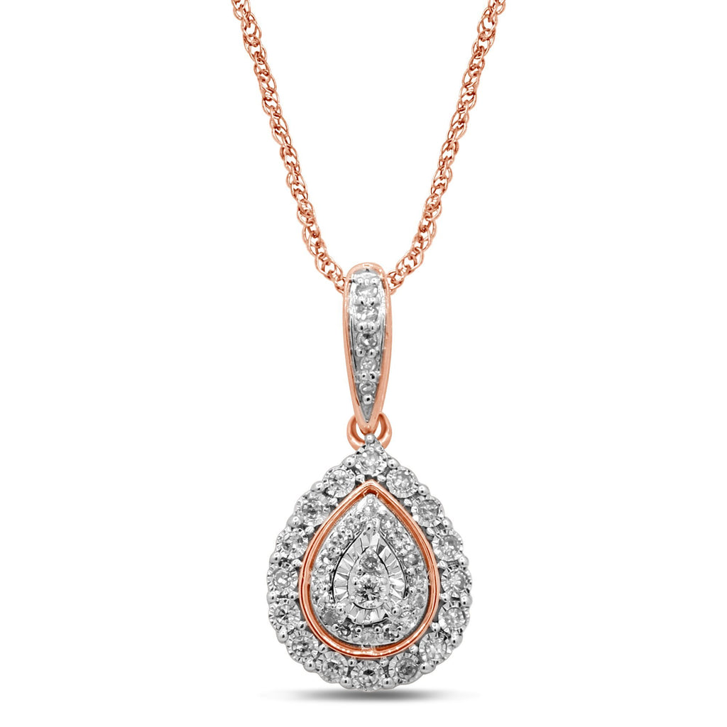 Double Pear Halo Necklace with 1/5ct of Diamonds in 9ct Rose Gold Necklaces Bevilles