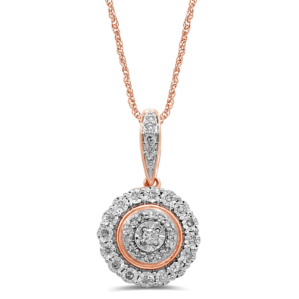 Miracle Halo Necklace with 1/5ct of Diamonds in 9ct Rose Gold Necklaces Bevilles