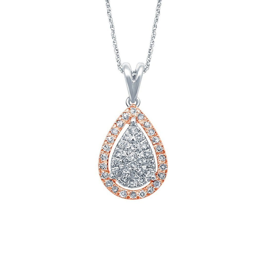 9ct White and Rose Gold 0.20ct Diamond Pear Shaped Pendant
