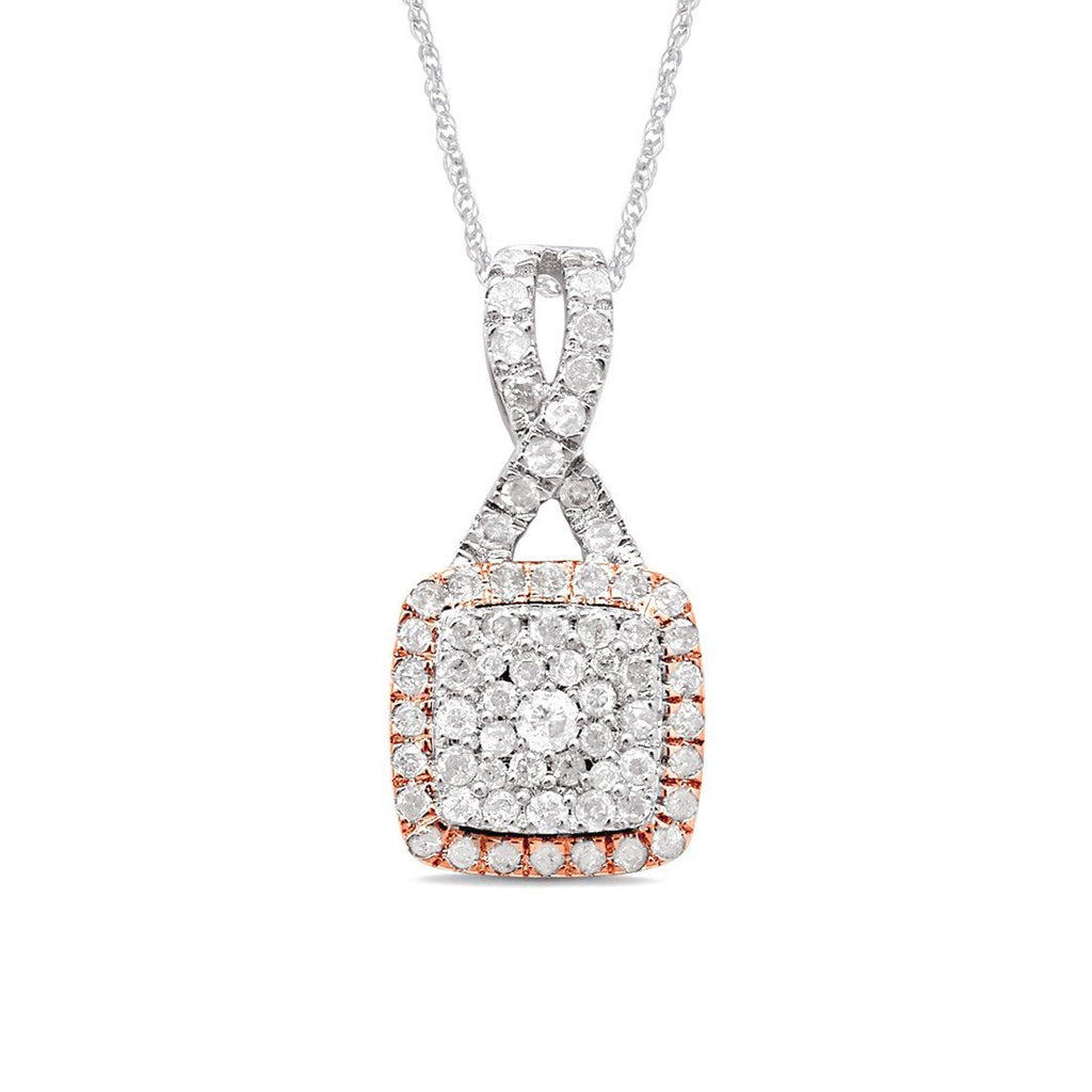 9ct White and Rose Gold 0.50ct Diamond Square Set Pendant Necklaces Bevilles