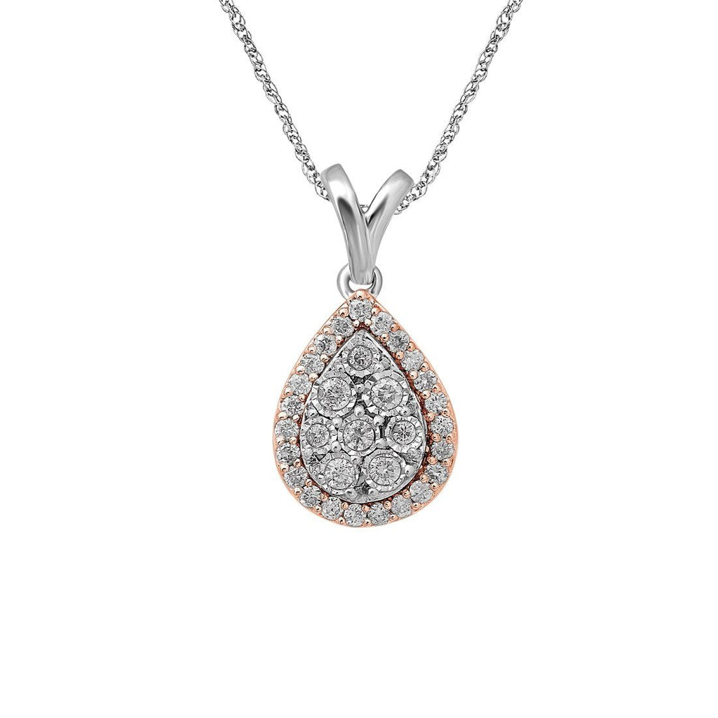 9ct White & Rose Gold 0.25ct Diamond Pear Miracle Set Halo Pendant Necklaces Bevilles