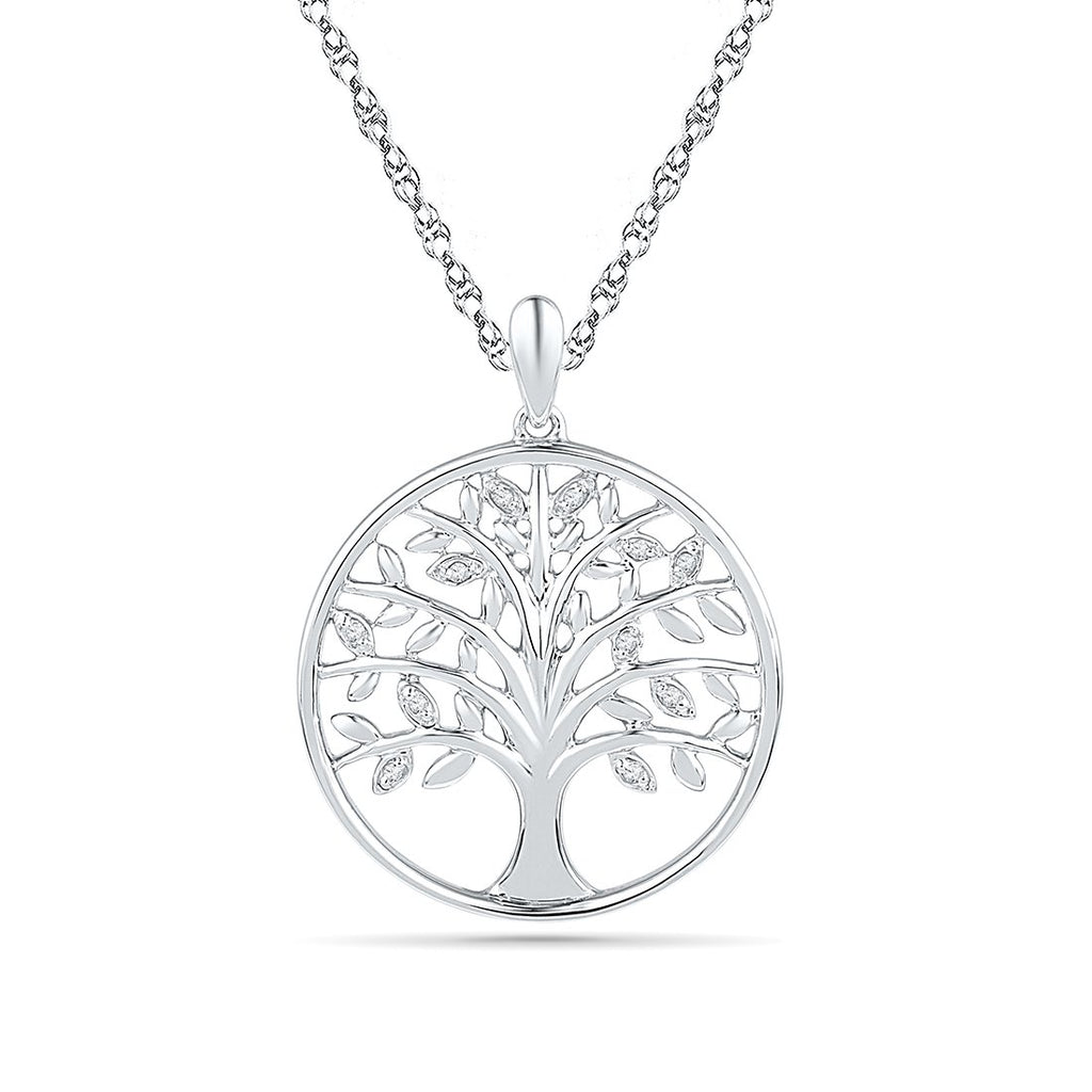 Sterling Silver Diamond Set Tree of Life Necklace Necklaces Bevilles