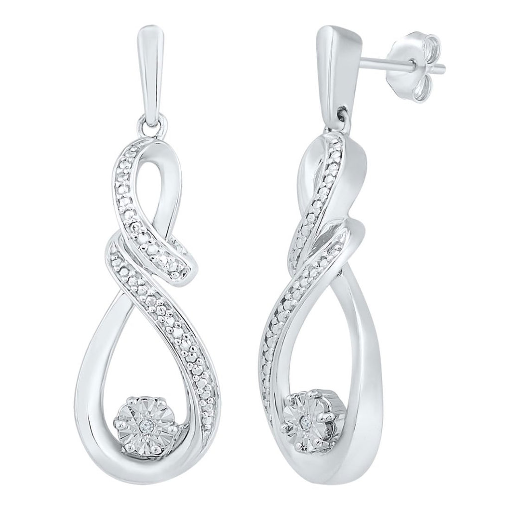 Brilliant Illusion 0.01ct Double Swirl Drop Diamond Stud Earrings Earrings Bevilles