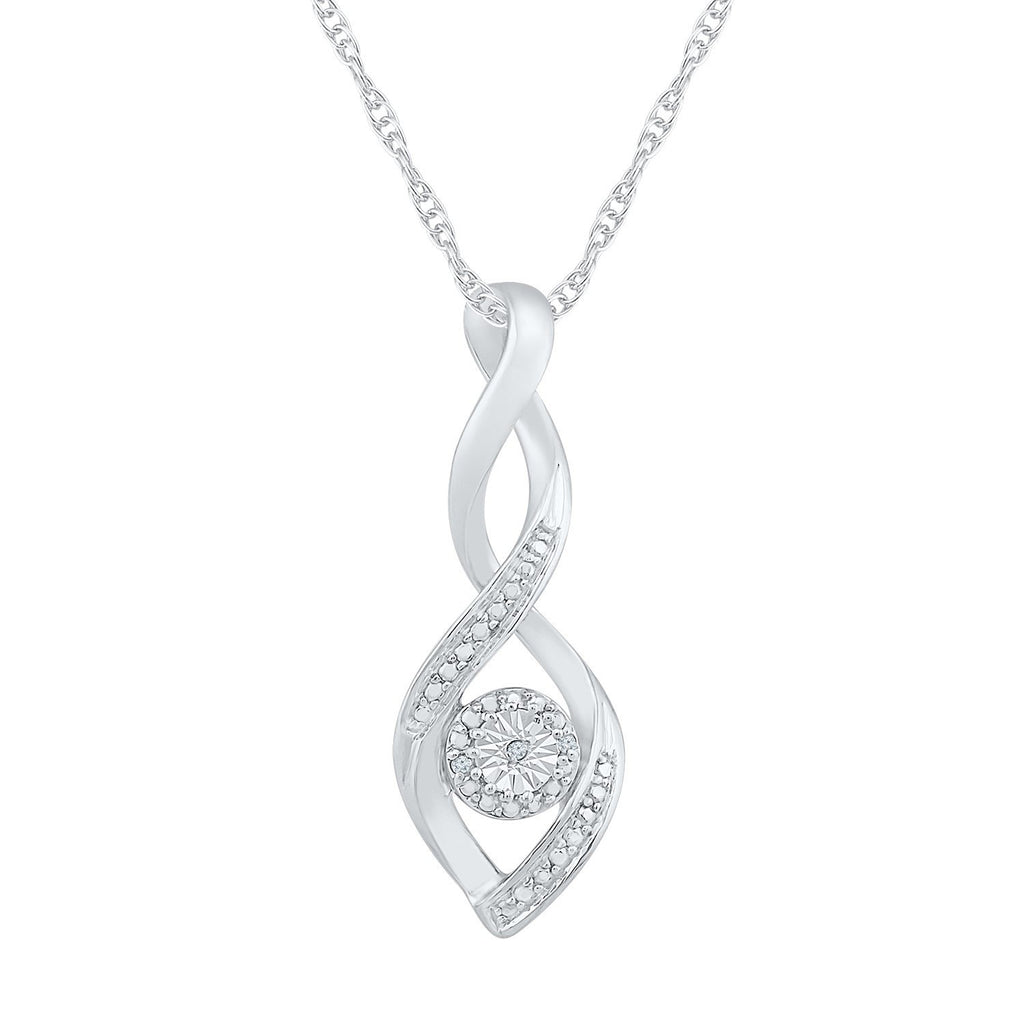 Sterling Silver Diamond Set Brilliant Illusion Necklace