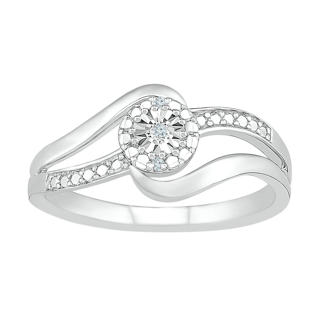 Sterling Silver Diamond Set Swirl Ring