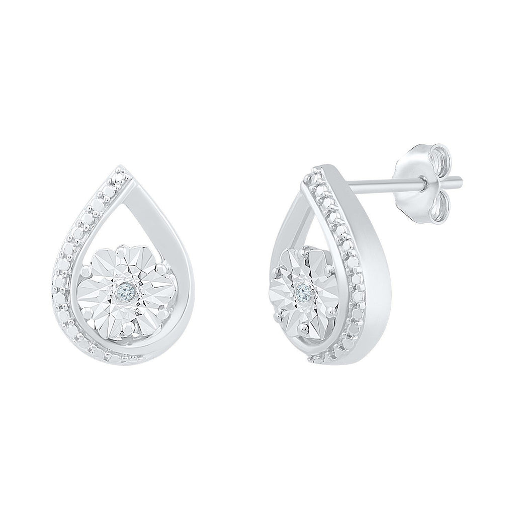Sterling Silver Diamond Set Brilliant Illusion Swirl Stud Earrings