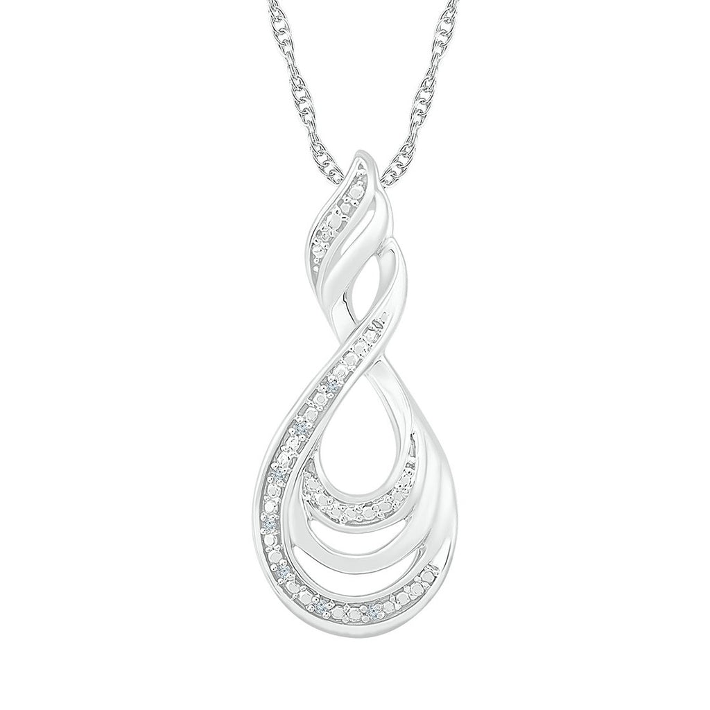Sterling Silver Diamond Swirl Necklace
