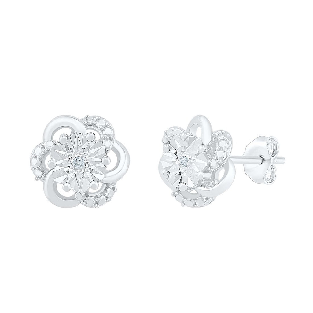 Diamond Set Brilliant Illusion Flower Stud Earrings