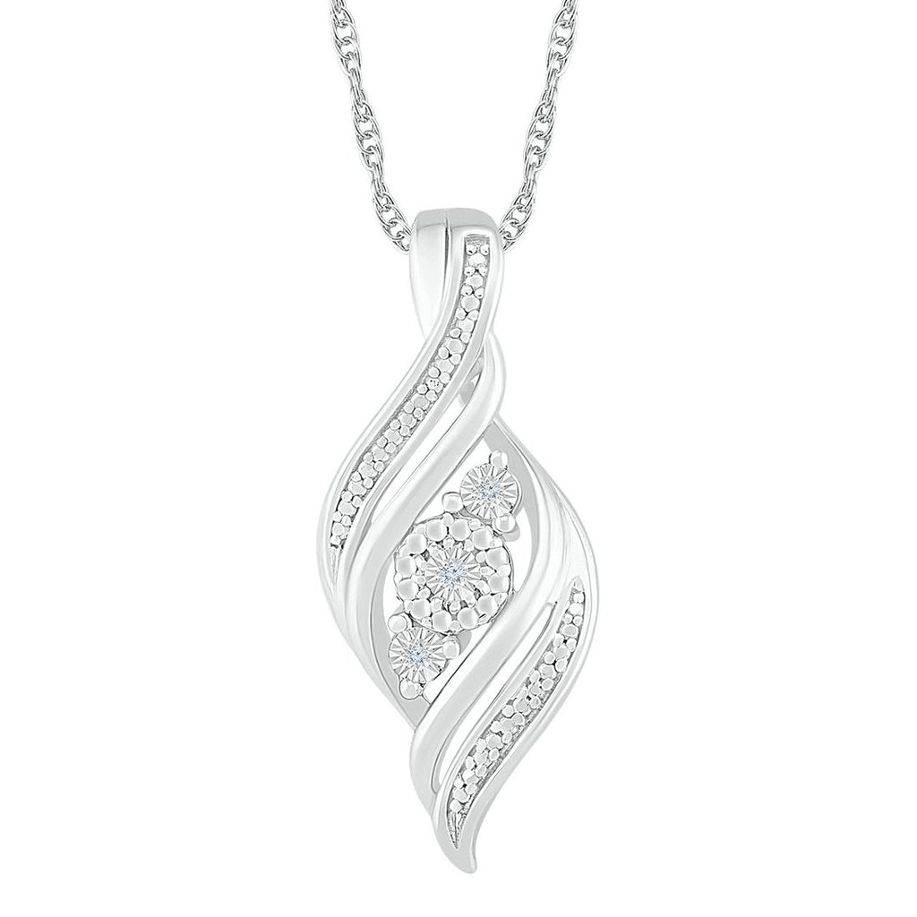 Sterling Silver Diamond Set Double Row Swirl Necklace Necklaces Bevilles