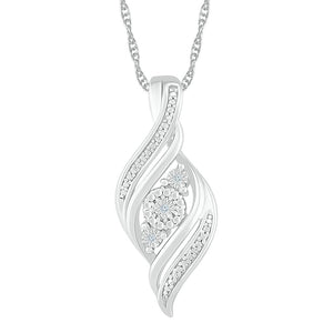 Sterling Silver Diamond Set Double Row Swirl Necklace
