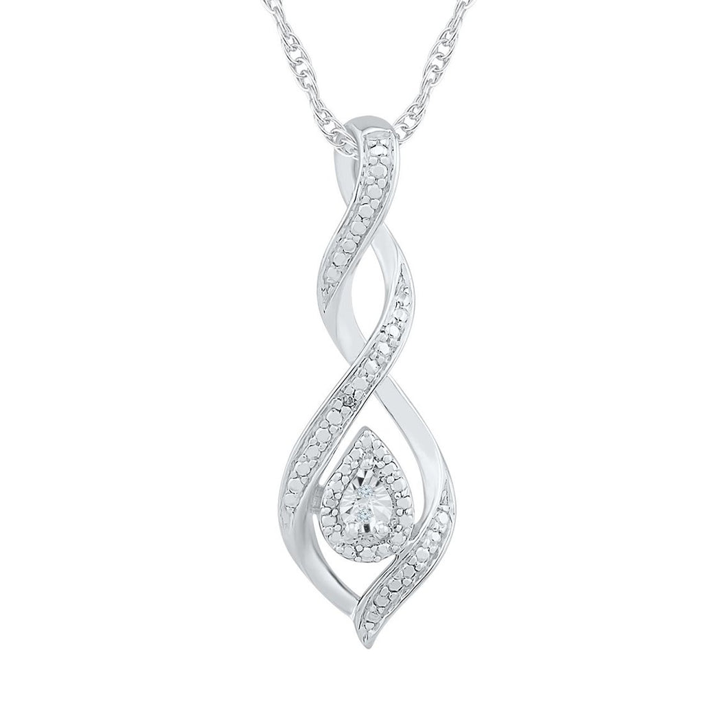 Sterling Silver Diamond Set Brilliant Illusion Swirl Necklace Necklaces Bevilles