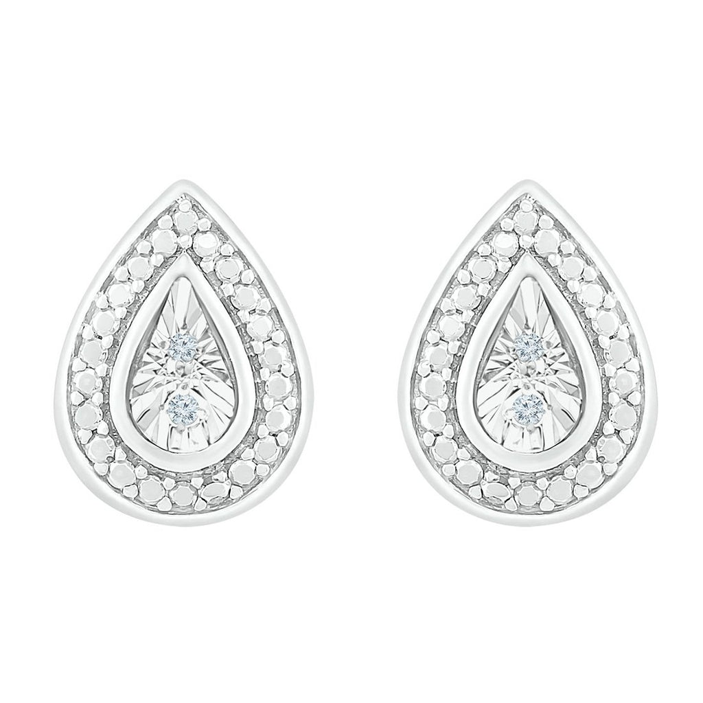 Sterling Silver Diamond Set Brilliant Illusion Pear Shape Earrings